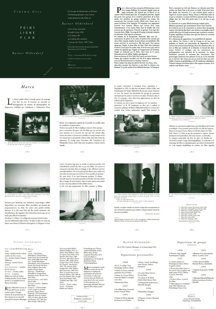 Soirée Rainer Oldendorf 4 juin 1998. Cinéma des cinéastes