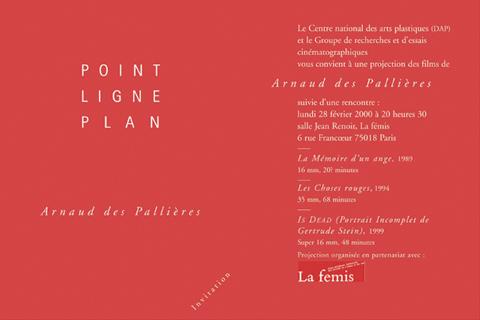 Soirée Arnaud des Pallières 28 février 2000. La fémis