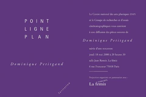 Soirée Dominique Petitgand 18 mai 2000. La fémis