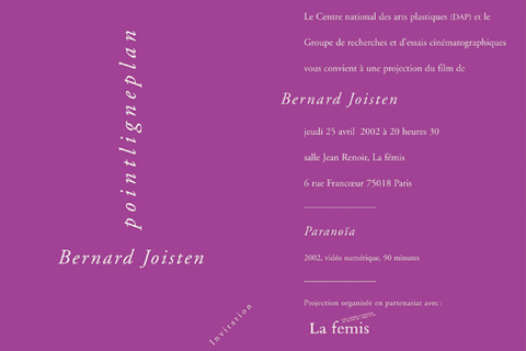 Soirée Bernard Joisten 25 avril 2003. La fémis
