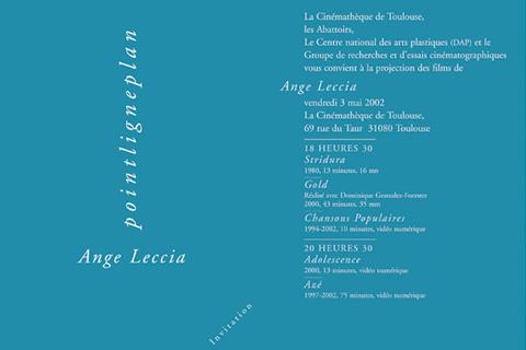 Soirée Ange Leccia 3 mai 2002. Cinémathèque de Toulouse