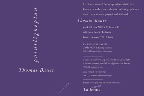 Soirée Thomas Bauer Jeudi 20 juin 2002. La fémis
