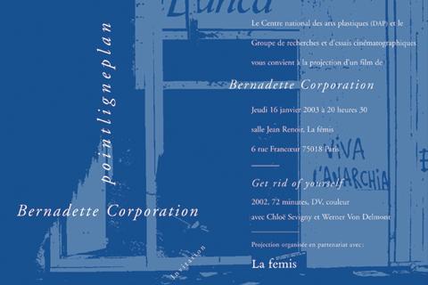 Soirée Bernadette Corporation Jeudi 16 janvier 2003. La fémis