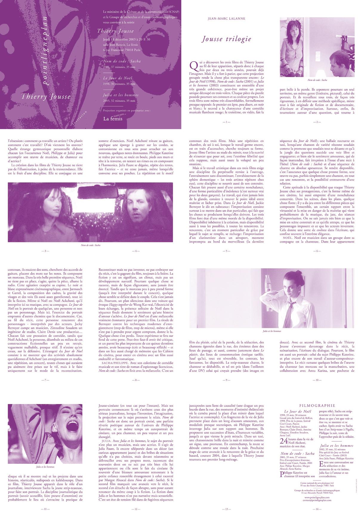 Soirée Thierry Jousse Jeudi 18 décembre 2003. La fémis