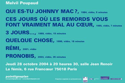 Soirée Melvil Poupaud Jeudi 28 octobre 2004. La fémis