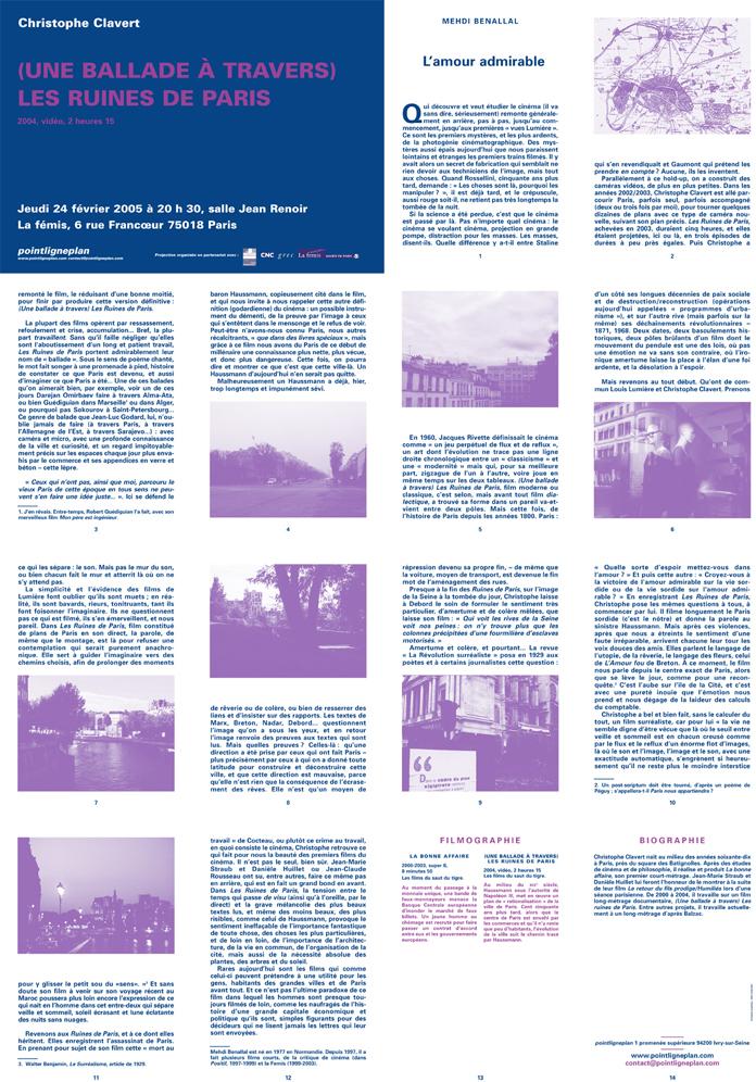 Soirée Christophe Clavert Jeudi 24 février 2005. La fémis