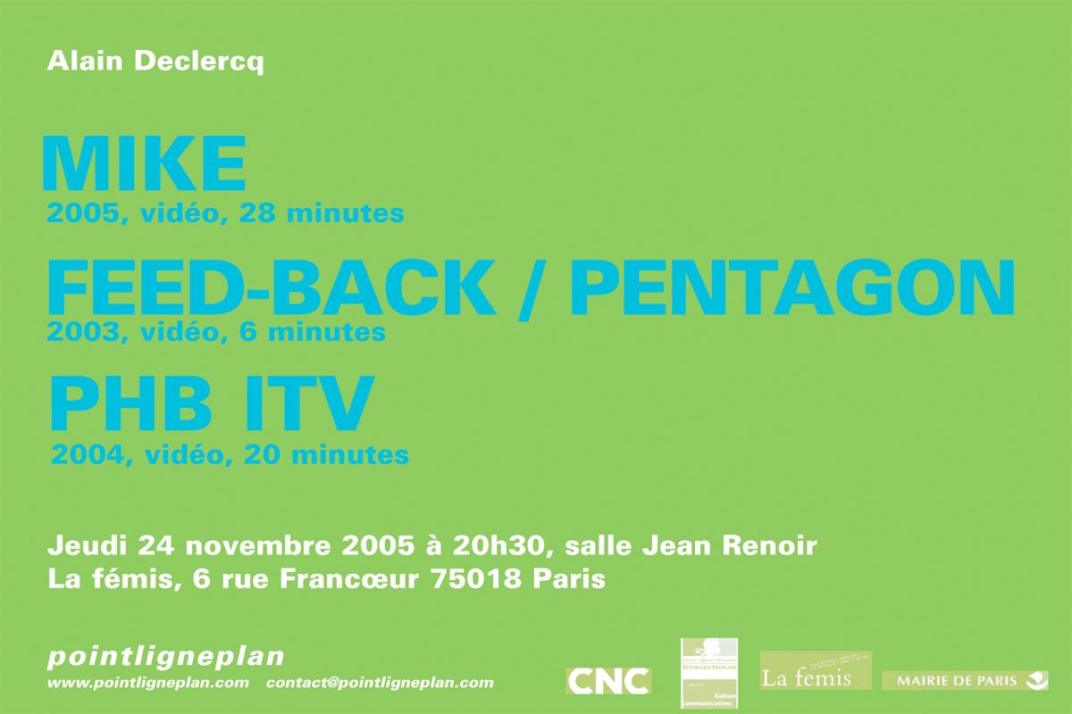 Soirée Alain Declercq Jeudi 24 novembre 2005. La fémis