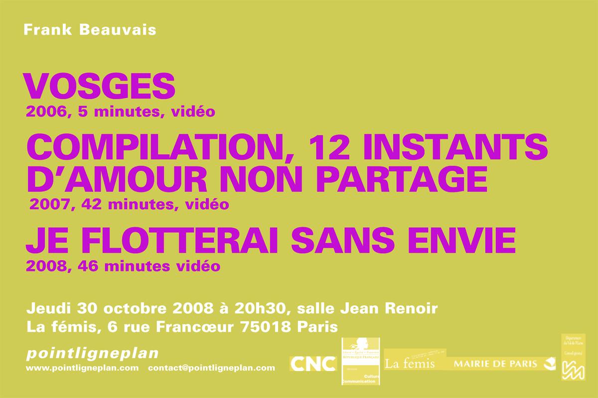 Soirée Frank Beauvais. Jeudi 30 octobre 2008. La fémis