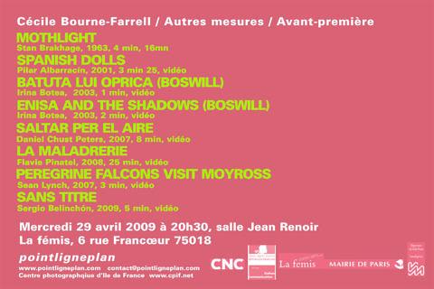 Cécile Bourne-Farrell / Autres mesures / Avant-première. Mercredi 29 avril 2009. La fémis