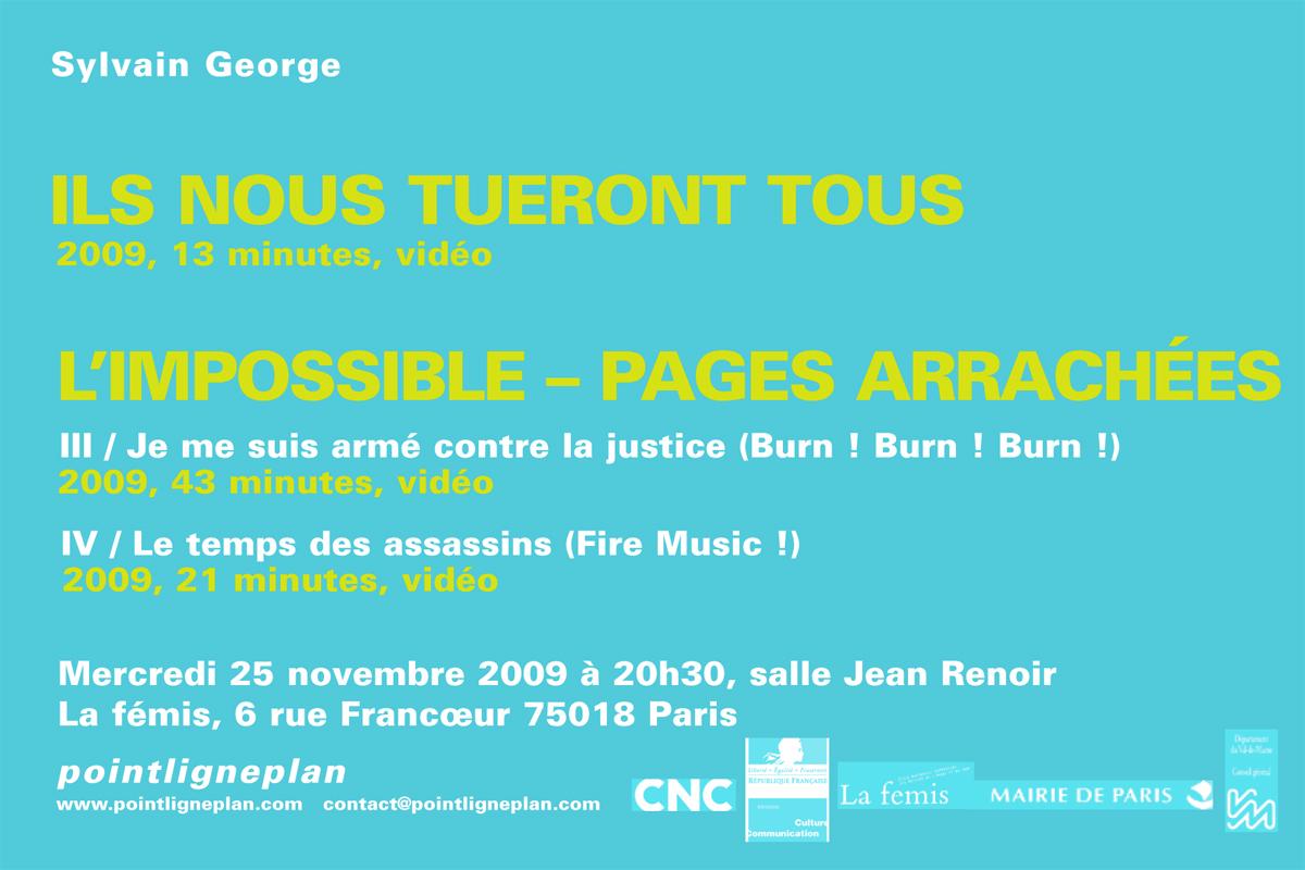 Mercredi 25 novembre 2009 Soirée Sylvain George